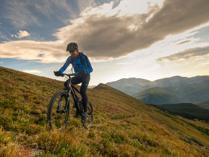 mountain biking in the vast mountains