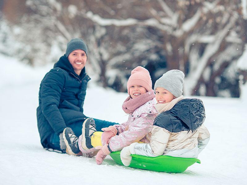 Family Sledding in Breckenridge
